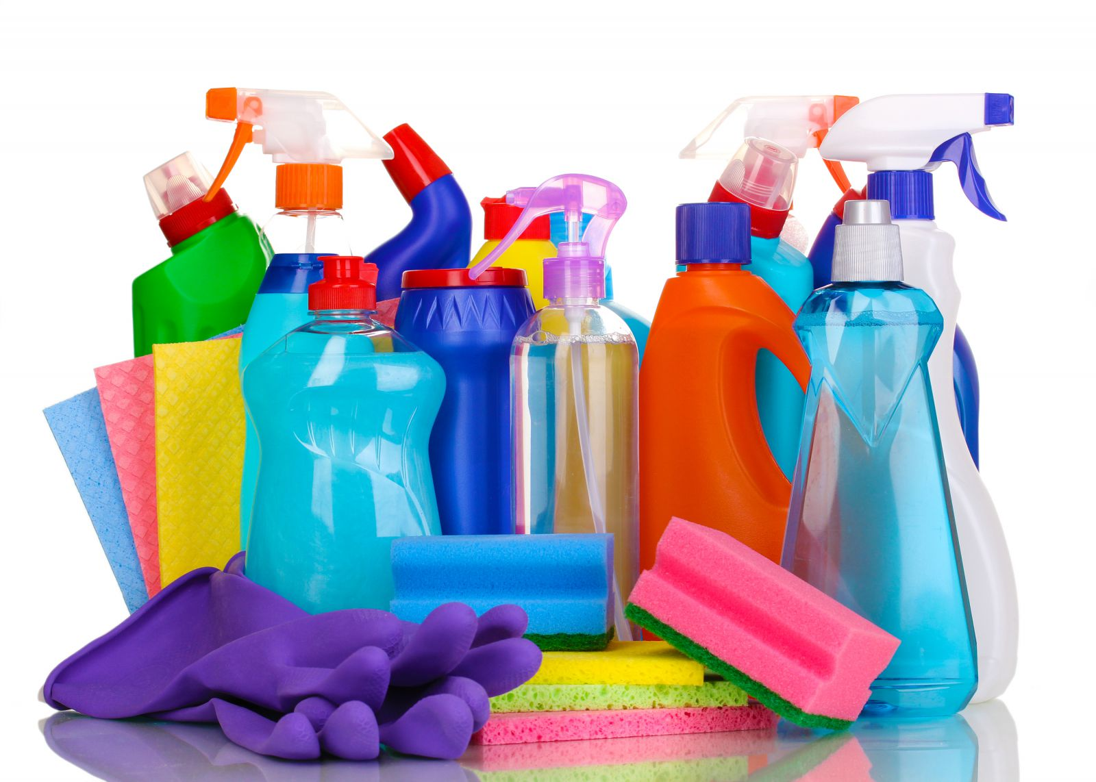 Vibrant cleaning supplies